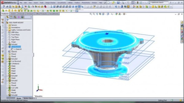3D CAD Modeling - SolidWorks - High Performance Engine Part - Fuel Pump Mount - 4