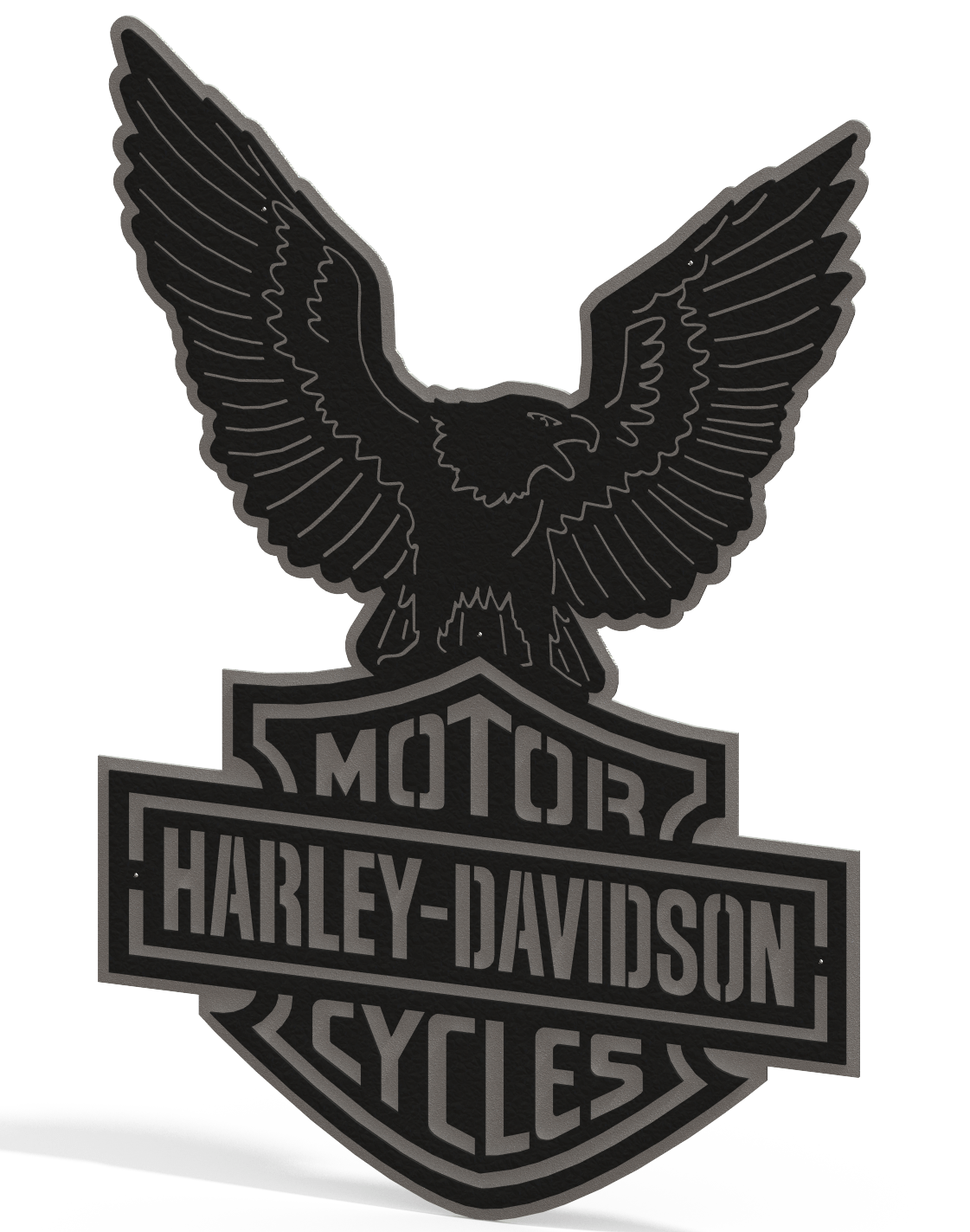Harley Davidson Logo & Eagle - 2 Piece Steel Wall Decoration 1