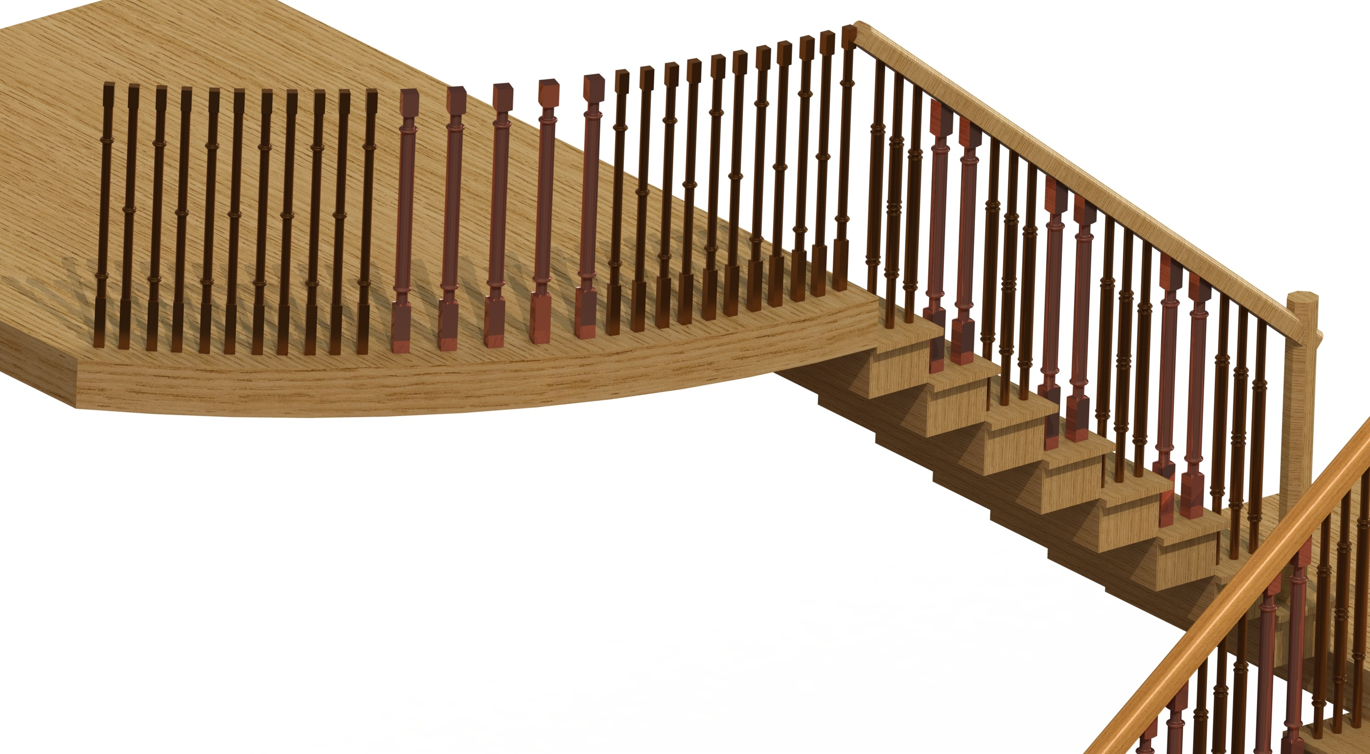 COPPER BRONZE STAIRCASE BALUSTERS RENDER 1