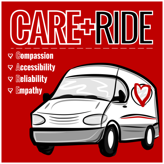 CARE RIDE LOGO - SQUARE SOCIAL ICON RED 1200px