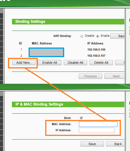 WIFI ROUTER - ADD DEVICE MAC ADDRESS TO BIND TO AN IP ADDRESS