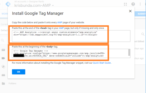 GTM (Google Tag Manager) AMP Container snippets 2
