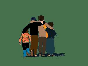 Flyktningbarn. Flyktninger. Klinikk for krisepsykologi. Psykologsenter Bergen. Psykologfellesskap. Kriseberedskap, krisehåndtering, kriseledelse, krise, krisesenter, traumeterapi, traumepsykologi, traumebehandling, traumer, traumesymptomer, kurs, veiledning, undervisning, beredskap, beredskapsledelse, beredskapsavtale bedrift, debriefing, kollegastøtte, kollegastøtteordning, sakkyndig arbeid, spesialisterklæring, individualterapi, gruppeterapi, parterapi, komplisert sorg, sorgterapi. Etterlatte, død, dødsfall, sosial nettverksstøtte. Sorgprosess. Sorgreaksjoner. Takle bearbeide sorg. Illustrasjon.