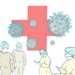 Coronavirus corona. Koronavirus korona. Covid 19. Helsepersonell. Karantene. Isolasjon. Quarantine. Isolation. Klinikk for krisepsykologi. Psykologsenter Bergen. Psykologfellesskap. Kriseberedskap, krisehåndtering, kriseledelse, krise, krisesenter, traumeterapi, traumepsykologi, traumebehandling, traumer, traumesymptomer, kurs, veiledning, undervisning, beredskap, beredskapsledelse, beredskapsavtale bedrift, debriefing, kollegastøtte, kollegastøtteordning, sakkyndig arbeid, spesialisterklæring, individualterapi, gruppeterapi, parterapi, komplisert sorg, sorgterapi. Etterlatte, død, dødsfall, sosial nettverksstøtte. Sorgprosess. Takle bearbeide sorg. Illustrasjon.