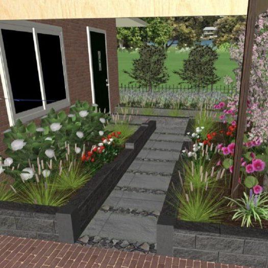 Tuinontwerp - Voortuin in Limmen 3D-Tuintekening