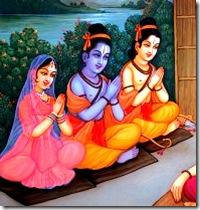 Sita, Rama, and Lakshmana visiting a sage