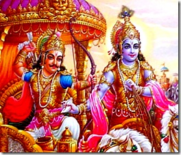 Lord Krishna and Arjuna on the battlefield of Kurukshetra