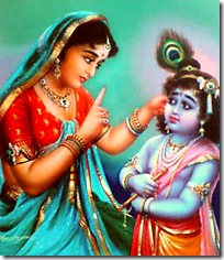 Mother Yashoda chastising Krishna