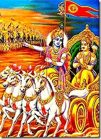 Krishna and Arjuna on the battlefield