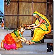 Sita paying respect to Anasuya