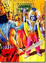 Krishna killing Shishupala