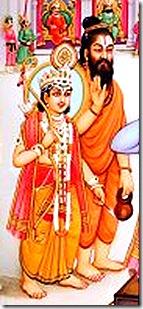 Vishvamitra and Lakshmana watching Rama break the bow