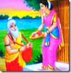 Sita greeting Ravana in the guise of a brahmana