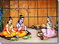 Sita Devi eating with Rama and Lakshmana