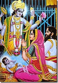 Devaki and Vasudeva praying to Lord Vishnu