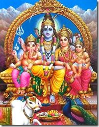 Shiva, Parvati and family