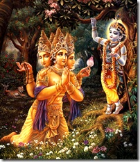 Lord Krishna with Lord Brahma