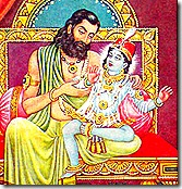 King Dasharatha with his son Rama