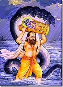 Vasudeva transferring Krishna to Gokula