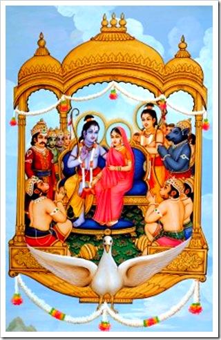 Sita and Rama triumphantly returning home