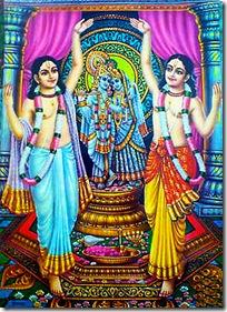Shri Shri Nimai Nitai worshiping Radha and Krishna