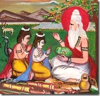 Valmiki teaching Lava and Kusha