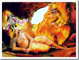 Kalayavana being burned by Muchukunda