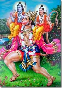 Hanuman with Lakshmana and Rama