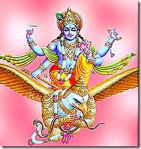 Lord Vishnu riding on Garuda