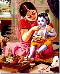 Lord Krishna eating