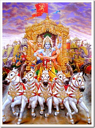 Krishna and Arjuna fighting ahead