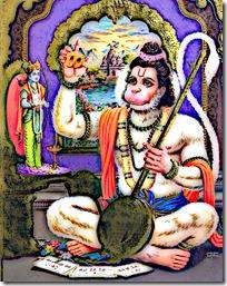 Hanuman worshiping Rama