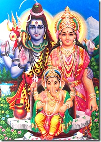Mother Parvati and Lord Shiva with son Ganesha