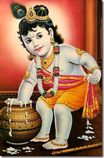 Krishna eating butter