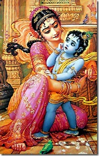 Yashoda tying Krishna to a mortar
