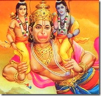 Hanuman carrying Rama and Lakshmana