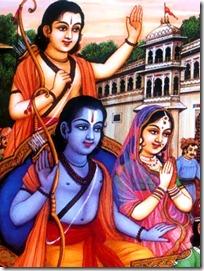 Sita, Rama and Lakshmana leaving Ayodhya