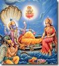 Worshiping Vishnu in Vaikuntha