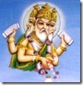 Lord Brahma dropping flowers