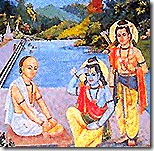 Tulsidas with Lakshmana and Rama