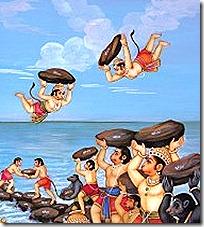 Hanuman and Vanaras building bridge for Rama