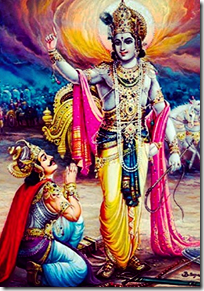 Krishna delivering Bhagavad-gita