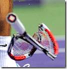 Smashed tennis racket