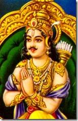 Arjuna worshiping Krishna
