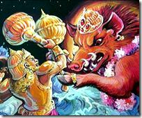 Varahadeva battling Varahadeva