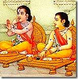 [Rama and Lakshmana eating]