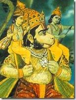 [Hanuman with Rama and Lakshmana]