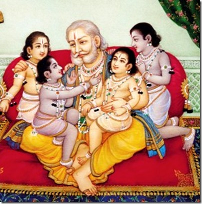 [Dasharatha with sons]