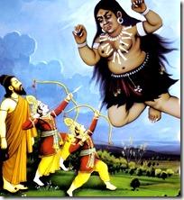 [Rama and Lakshmana slaying Tataka]