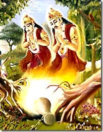 [Trees praying to Krishna]